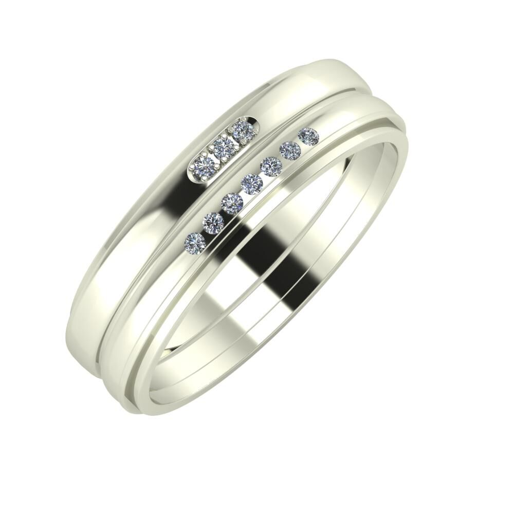 Aleszja - Albertina - Ájlin 6mm 18 karátos fehér arany karikagyűrű