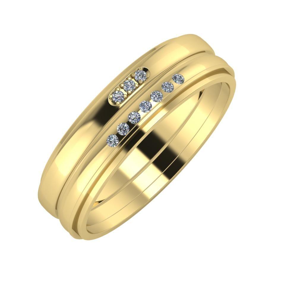 Aleszja - Albertina - Ájlin 6mm 14 karátos sárga arany karikagyűrű