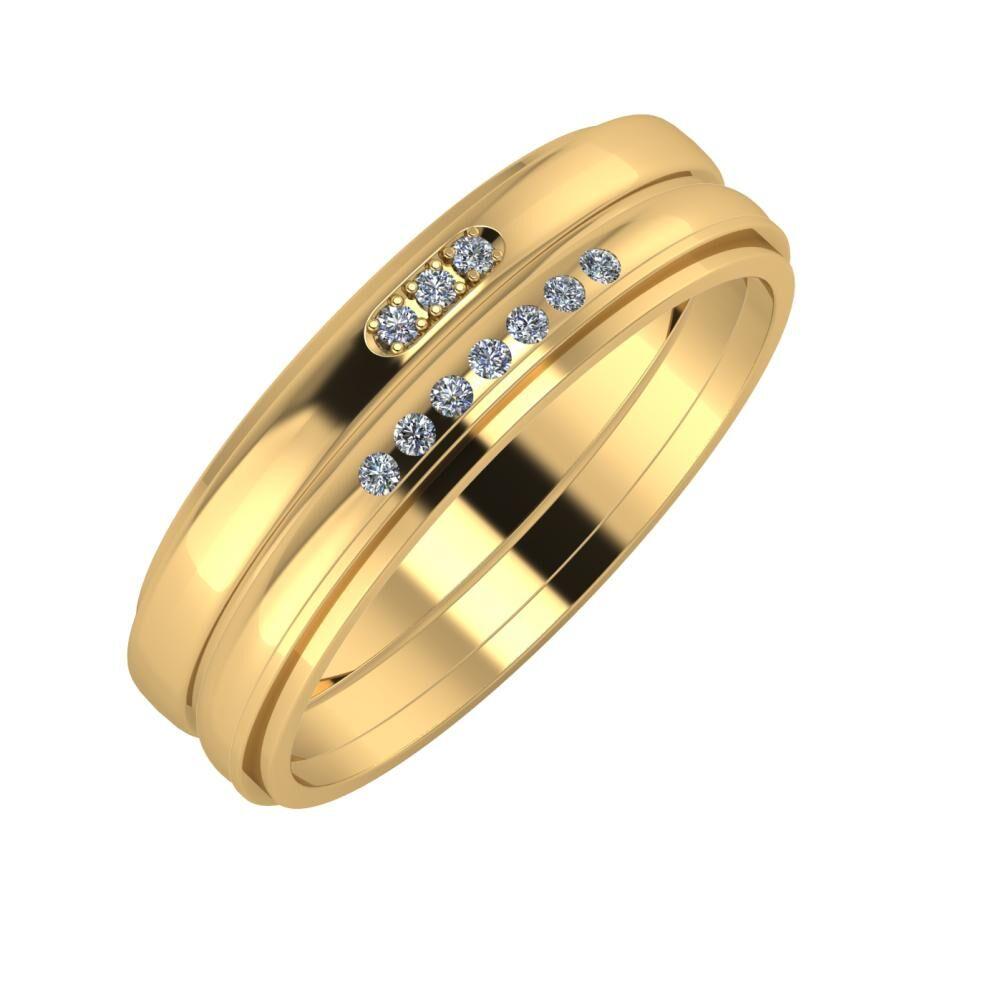 Aleszja - Albertina - Ájlin 6mm 22 karátos sárga arany karikagyűrű
