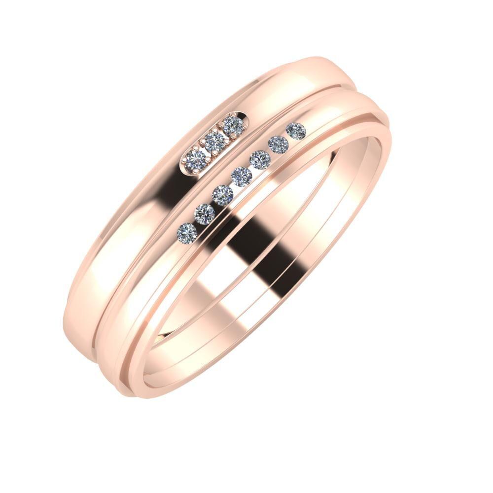 Aleszja - Albertina - Ájlin 6mm 14 karátos rosé arany karikagyűrű