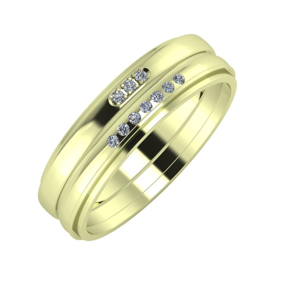 Aleszja - Albertina - Ájlin 6mm 14 karátos zöld arany karikagyűrű
