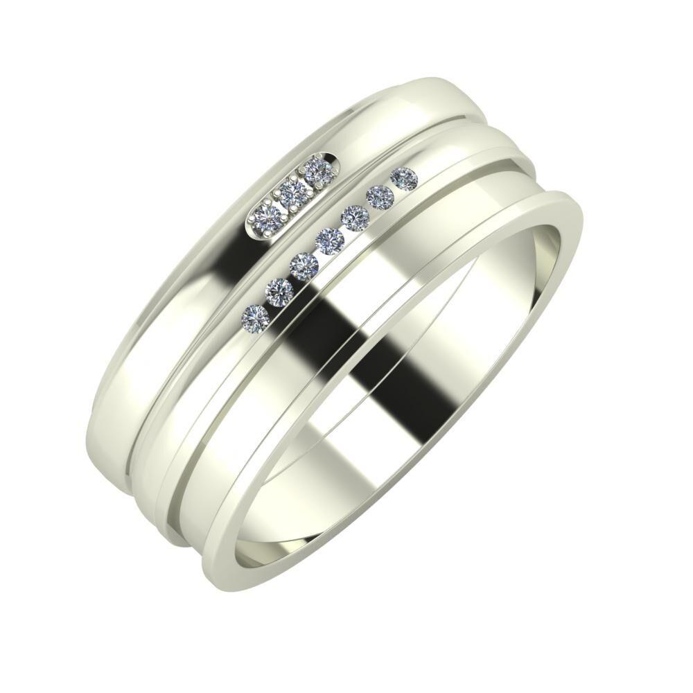 Aleszja - Albertina - Ajnácska 8mm 14 karátos fehér arany karikagyűrű