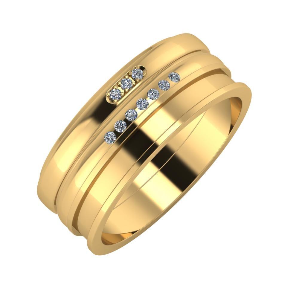 Aleszja - Albertina - Ajnácska 8mm 22 karátos sárga arany karikagyűrű