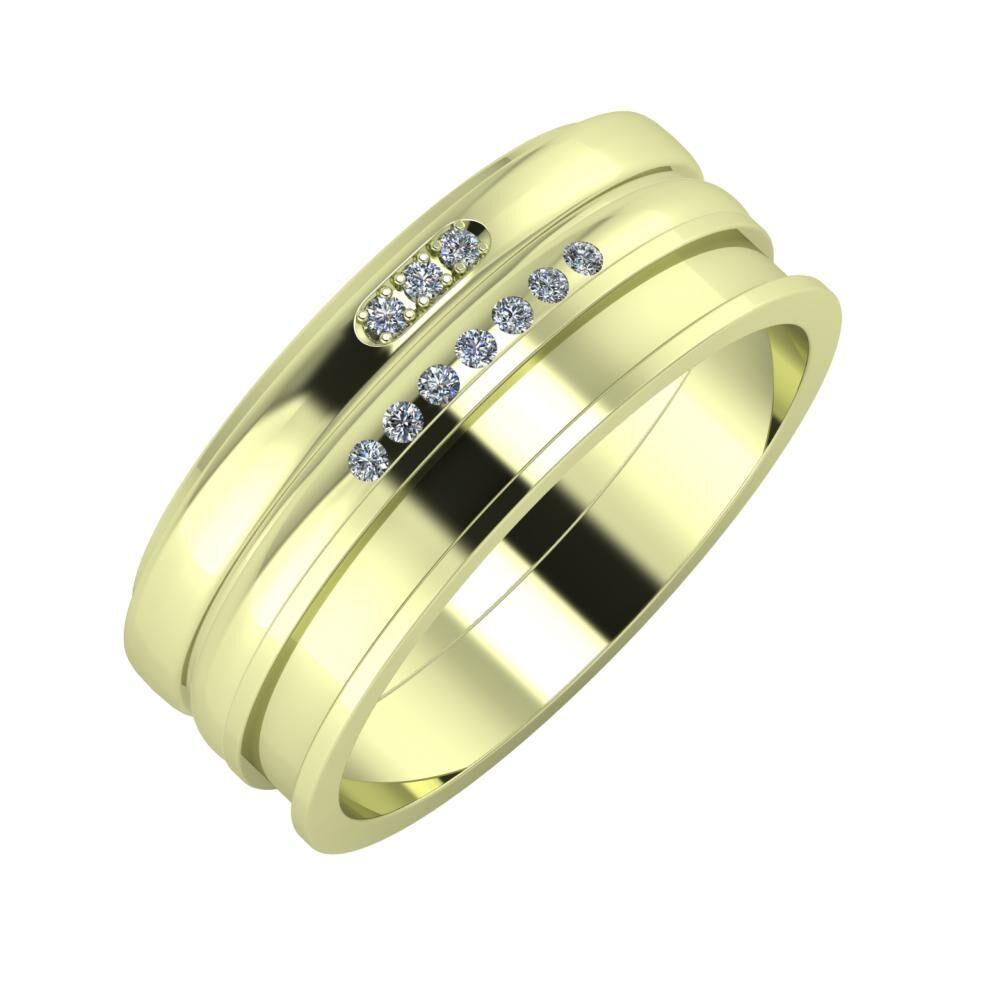Aleszja - Albertina - Ajnácska 8mm 14 karátos zöld arany karikagyűrű