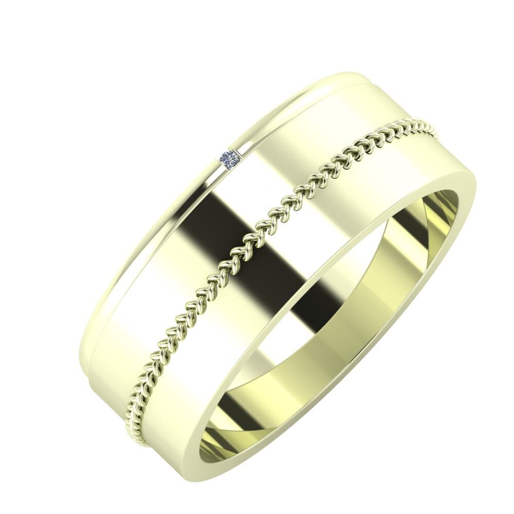 Adalind - Áfonya 7mm 22 karátos fehér arany karikagyűrű