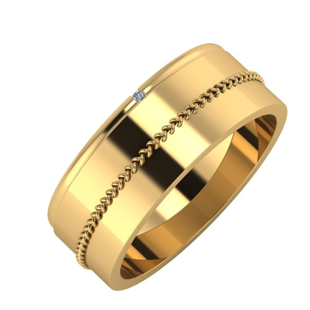 Adalind - Áfonya 7mm 22 karátos sárga arany karikagyűrű