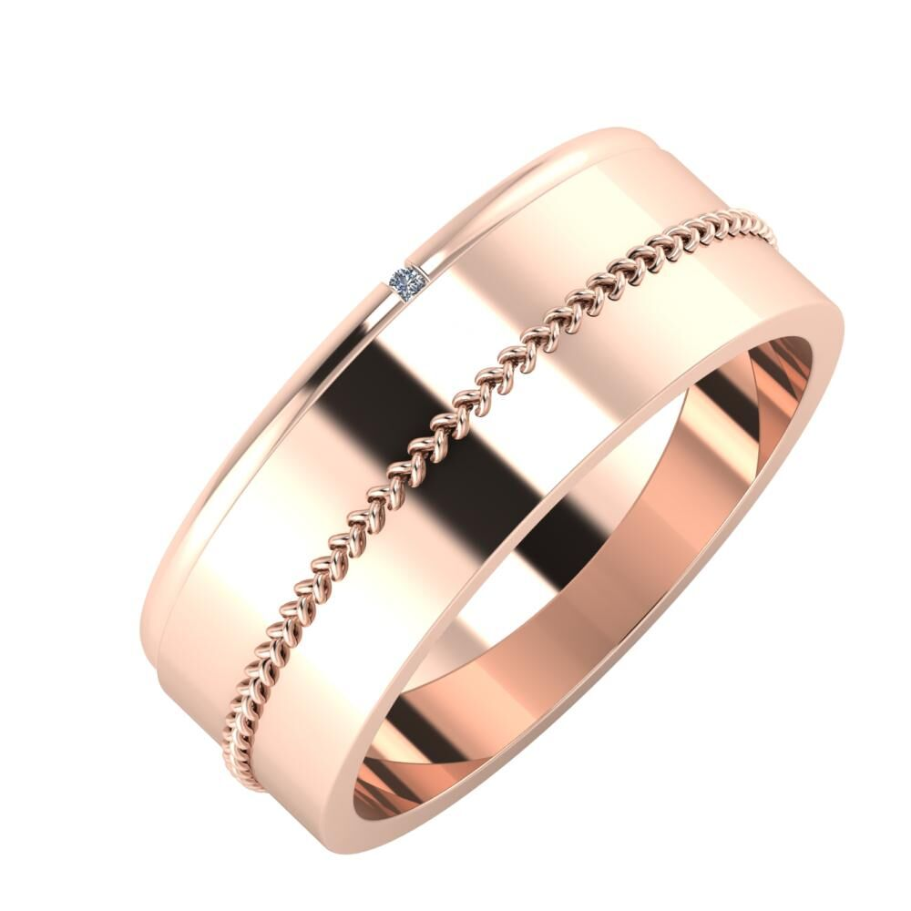 Adalind - Áfonya 7mm 18 karátos rosé arany karikagyűrű
