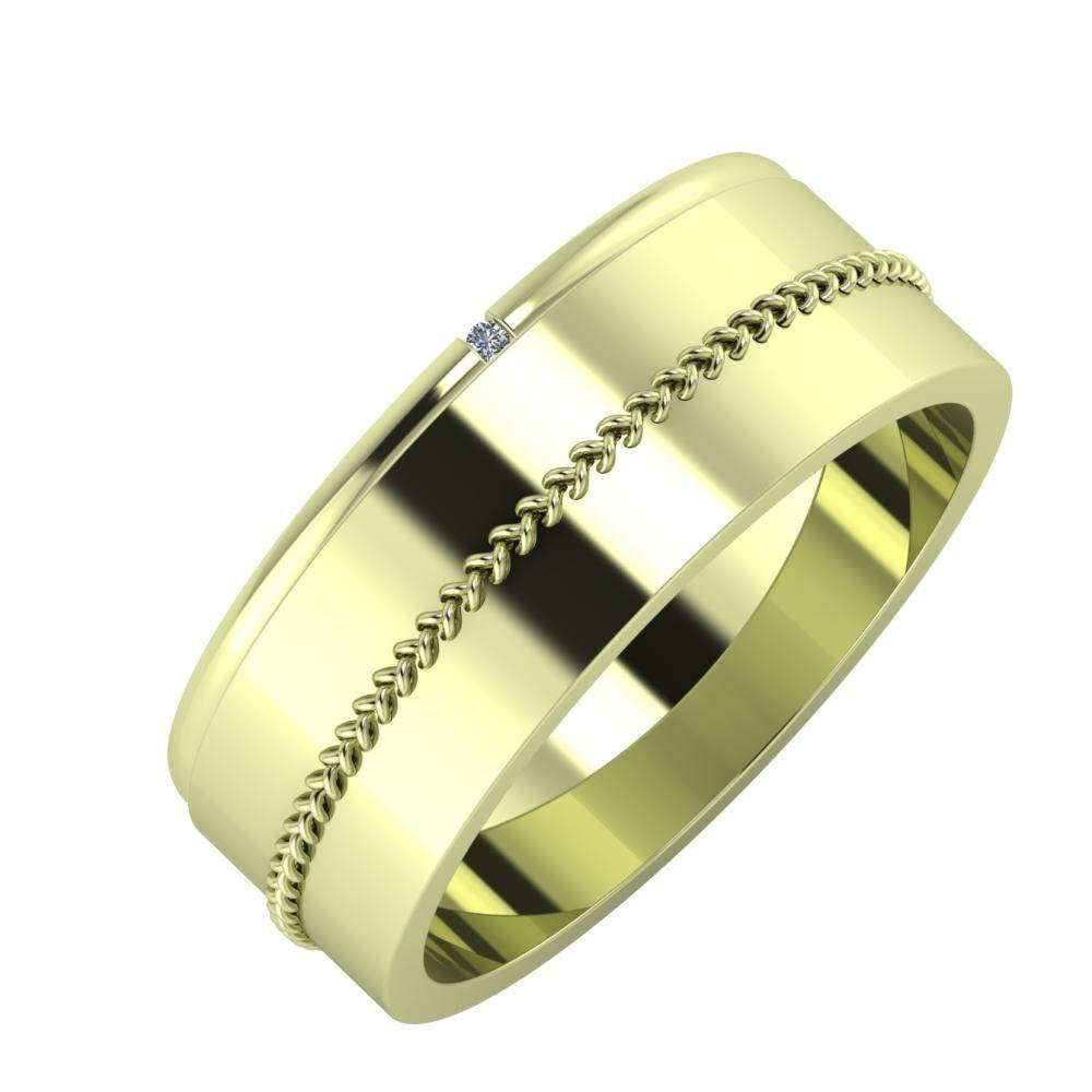 Adalind - Áfonya 7mm 14 karátos zöld arany karikagyűrű
