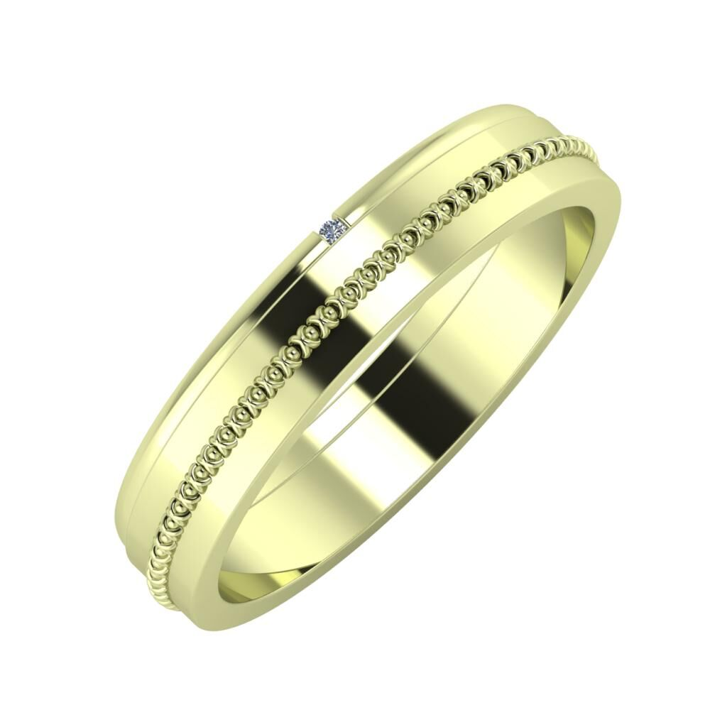 Adalind - Afrodita 4mm 14 karátos zöld arany karikagyűrű