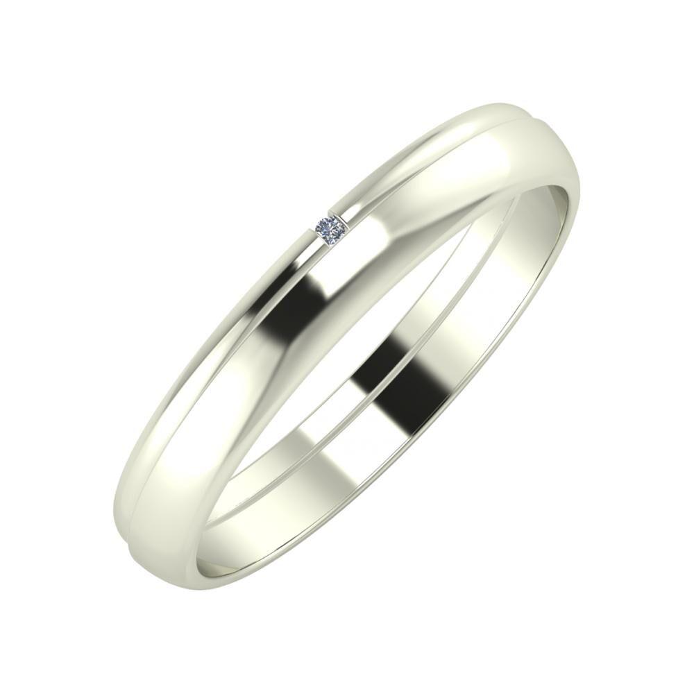 Adalind - Ágosta 3mm 14 karátos fehér arany karikagyűrű