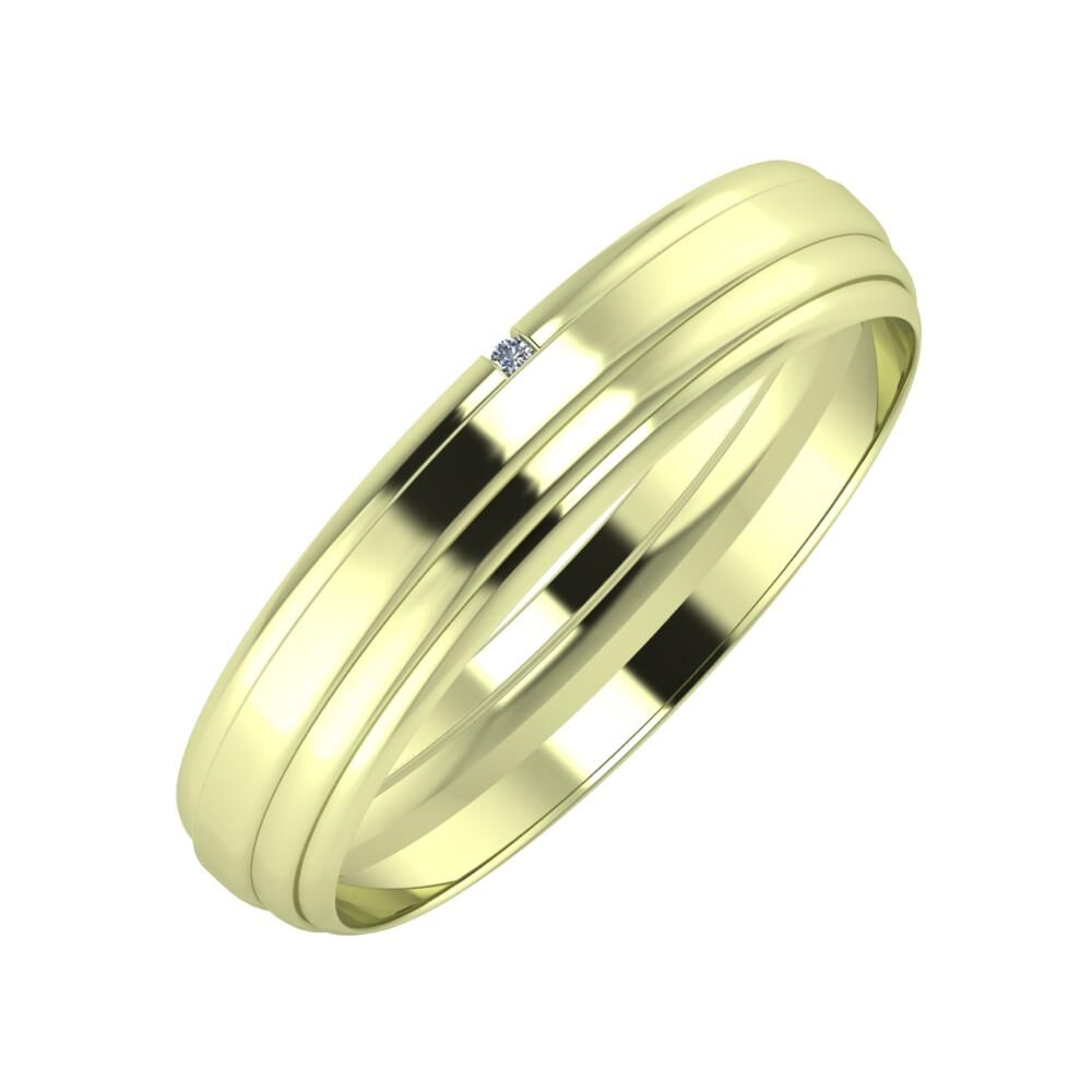 Adalind - Aina 4mm 14 karátos zöld arany karikagyűrű