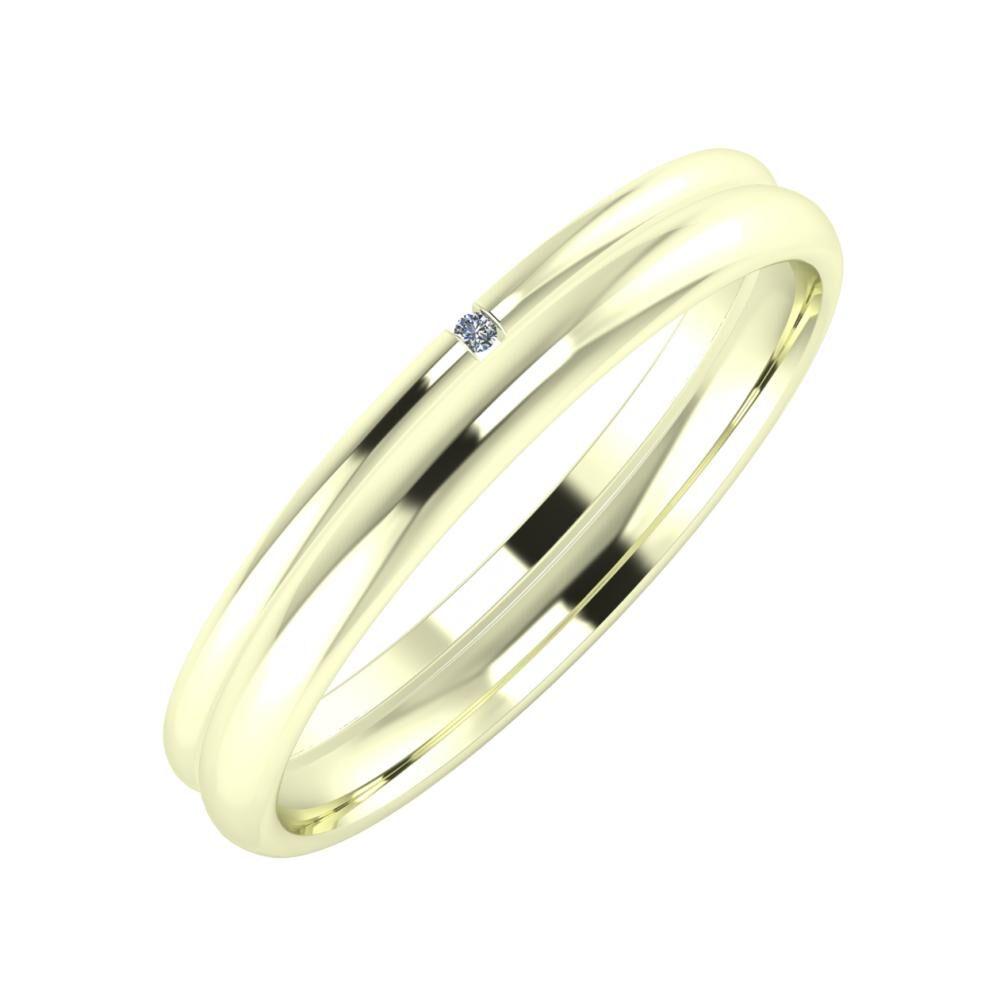 Adalind - Alexa 3mm 22 karátos fehér arany karikagyűrű