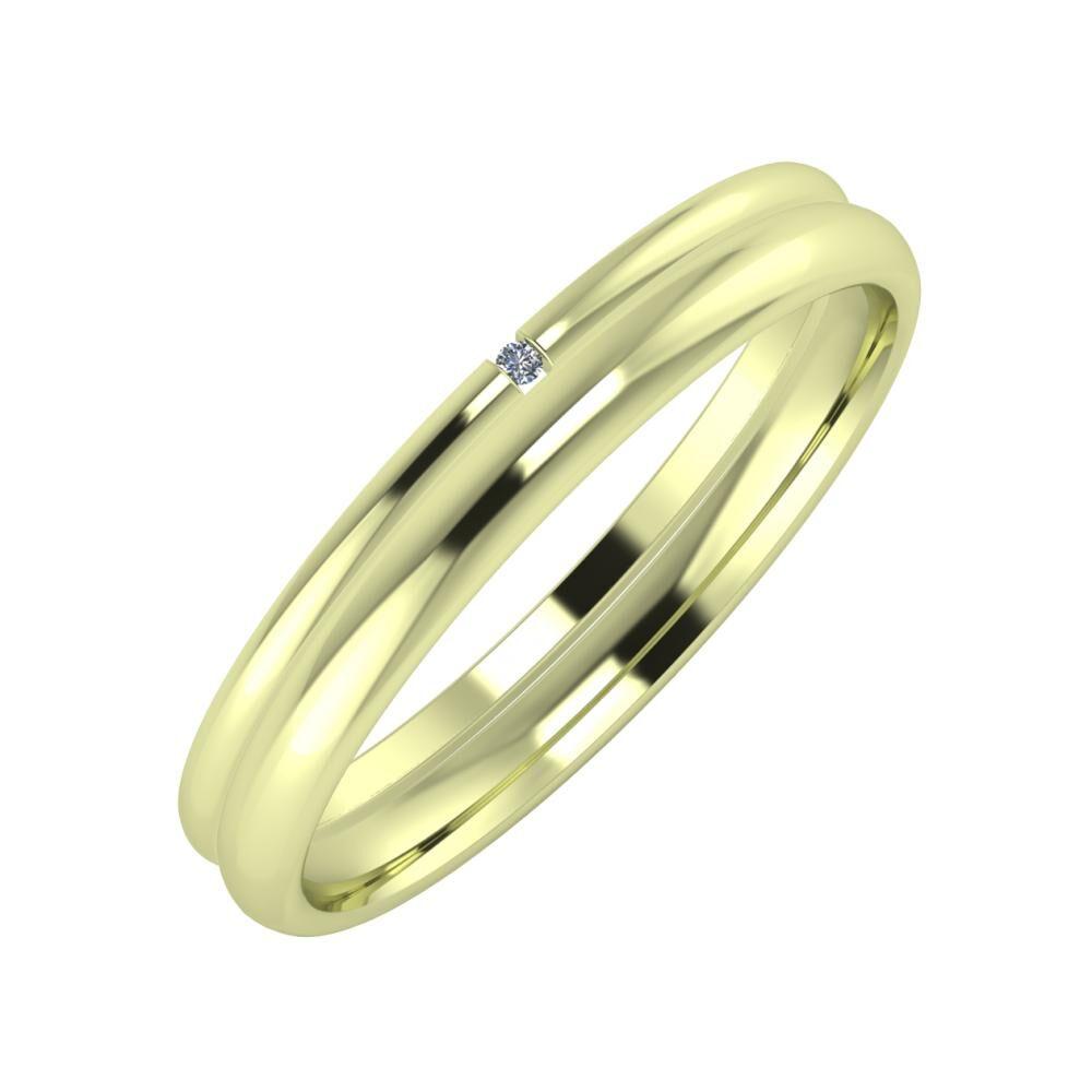 Adalind - Alexa 3mm 14 karátos zöld arany karikagyűrű