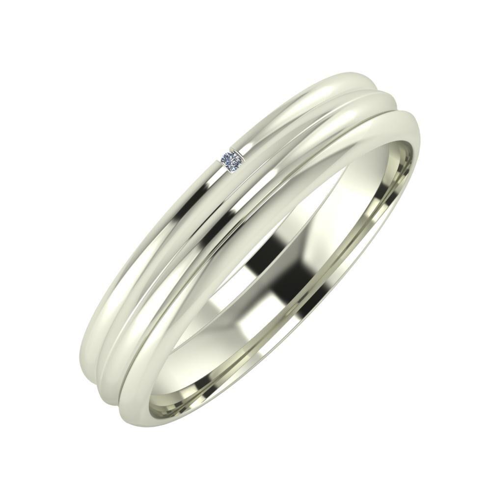 Adalind - Alexandrin 4mm 14 karátos fehér arany karikagyűrű