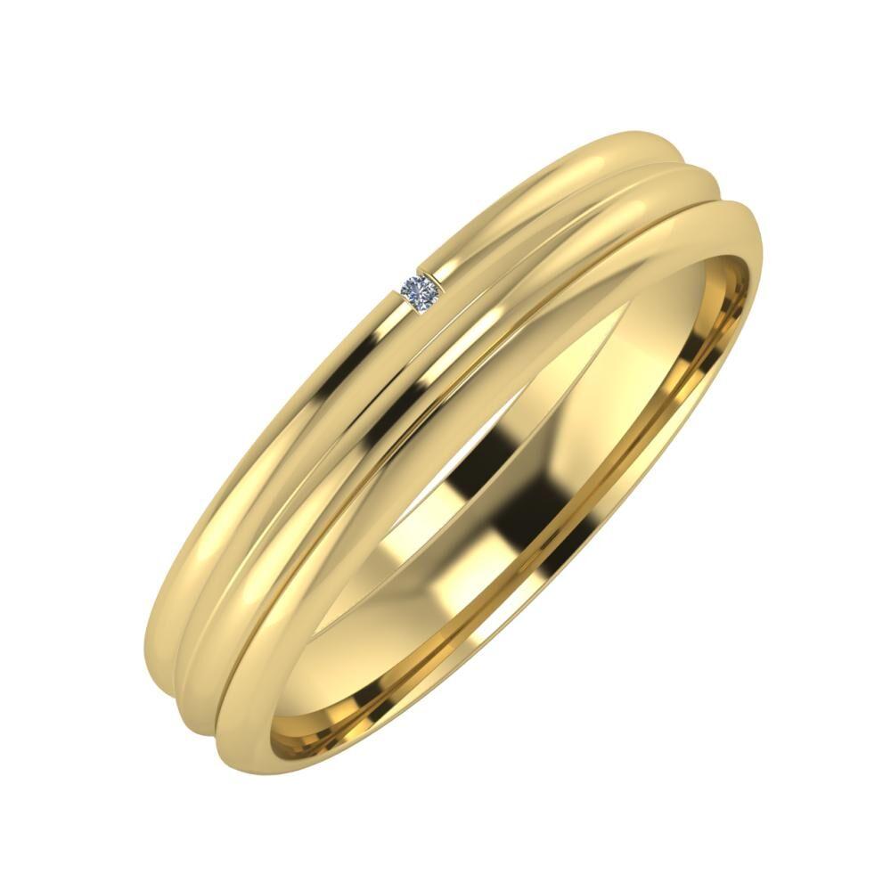Adalind - Alexandrin 4mm 14 karátos sárga arany karikagyűrű
