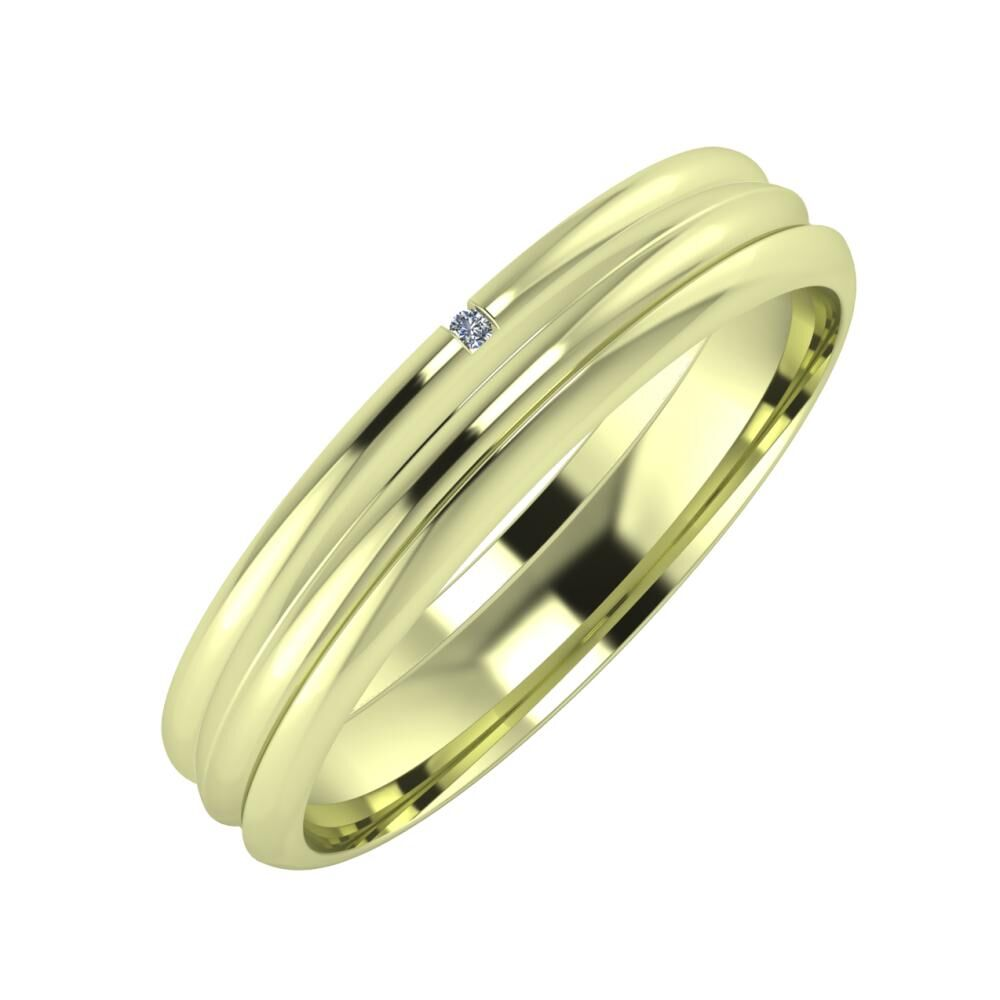 Adalind - Alexandrin 4mm 14 karátos zöld arany karikagyűrű