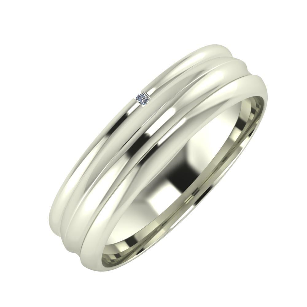 Adalind - Alexandrin 5mm 14 karátos fehér arany karikagyűrű