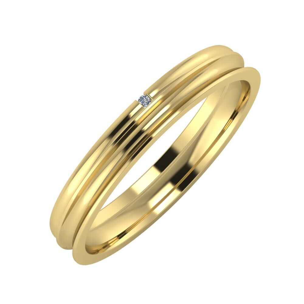 Adalind - Alexandrina 3mm 14 karátos sárga arany karikagyűrű