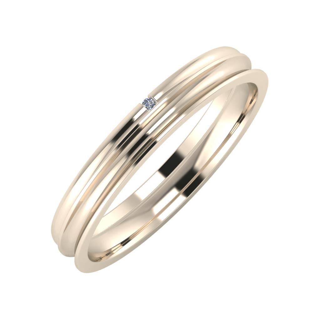 Adalind - Alexandrina 3mm 22 karátos rosé arany karikagyűrű