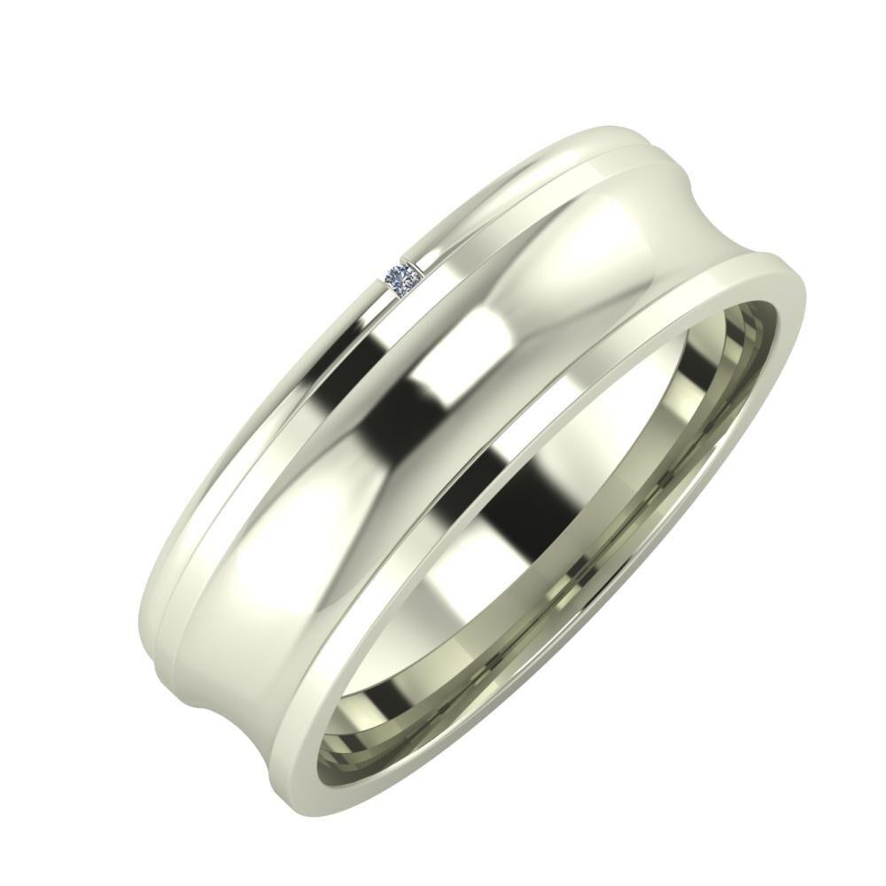 Adalind - Alexandrina 6mm 18 karátos fehér arany karikagyűrű