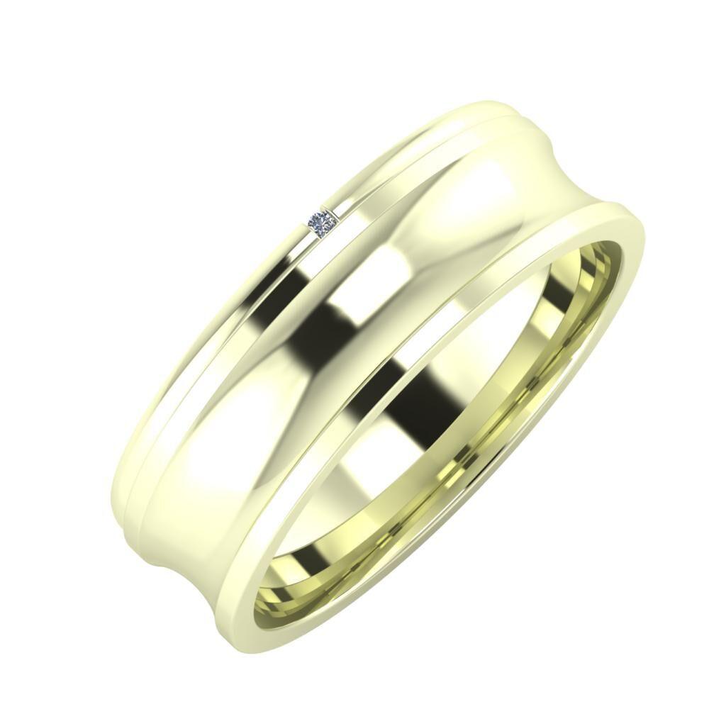 Adalind - Alexandrina 6mm 22 karátos fehér arany karikagyűrű