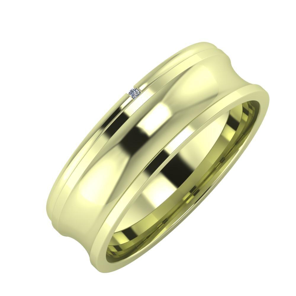Adalind - Alexandrina 6mm 14 karátos zöld arany karikagyűrű