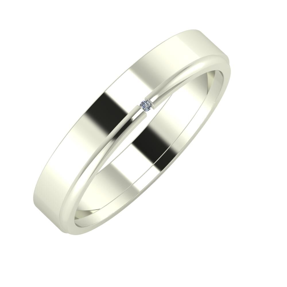 Adela - Adalind 4mm 14 karátos fehér arany karikagyűrű
