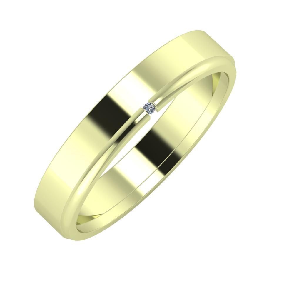 Adela - Adalind 4mm 14 karátos zöld arany karikagyűrű