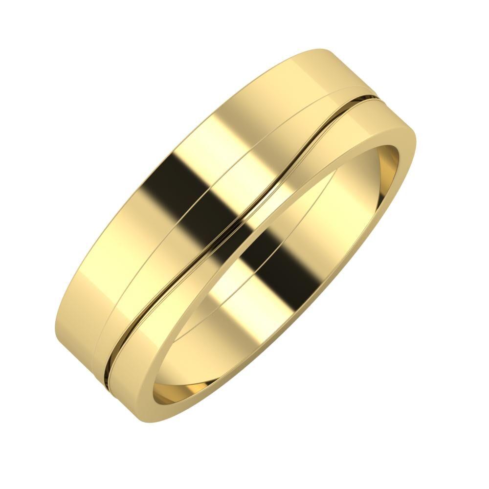 Adela - Adelinda 6mm 14 karátos sárga arany karikagyűrű