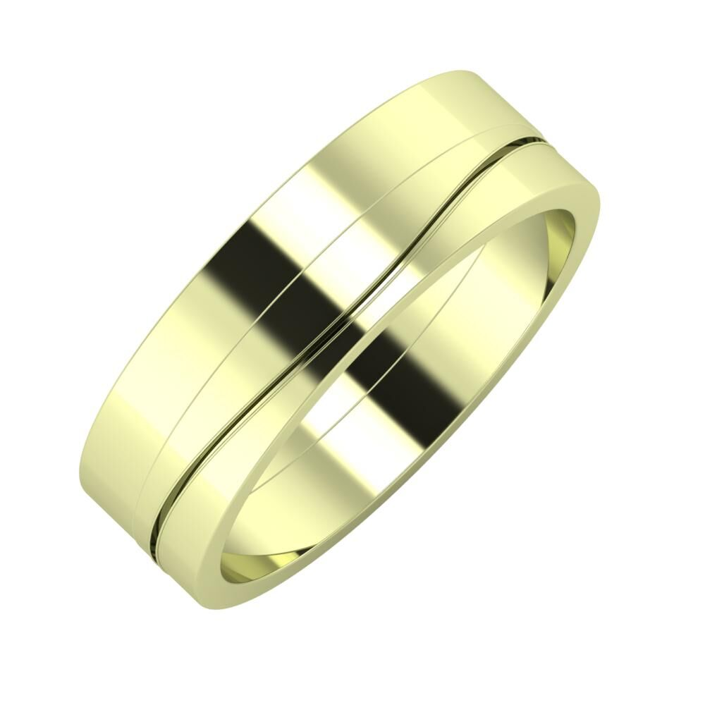 Adela - Adelinda 6mm 14 karátos zöld arany karikagyűrű