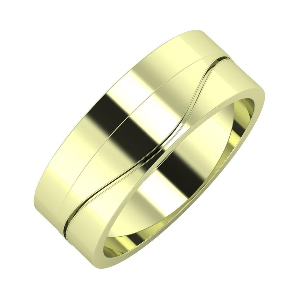 Adela - Adelinda 7mm 14 karátos zöld arany karikagyűrű