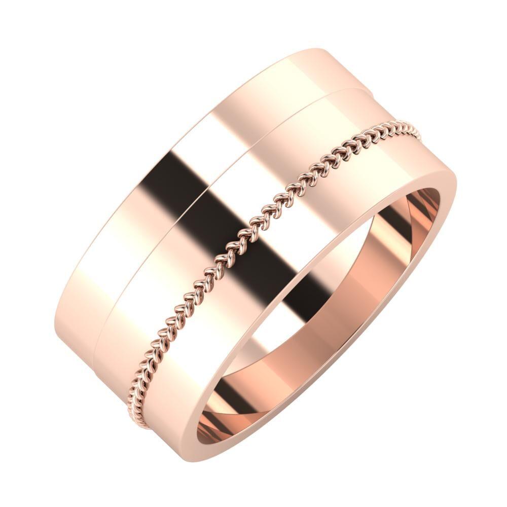 Adela - Áfonya 9mm 18 karátos rosé arany karikagyűrű