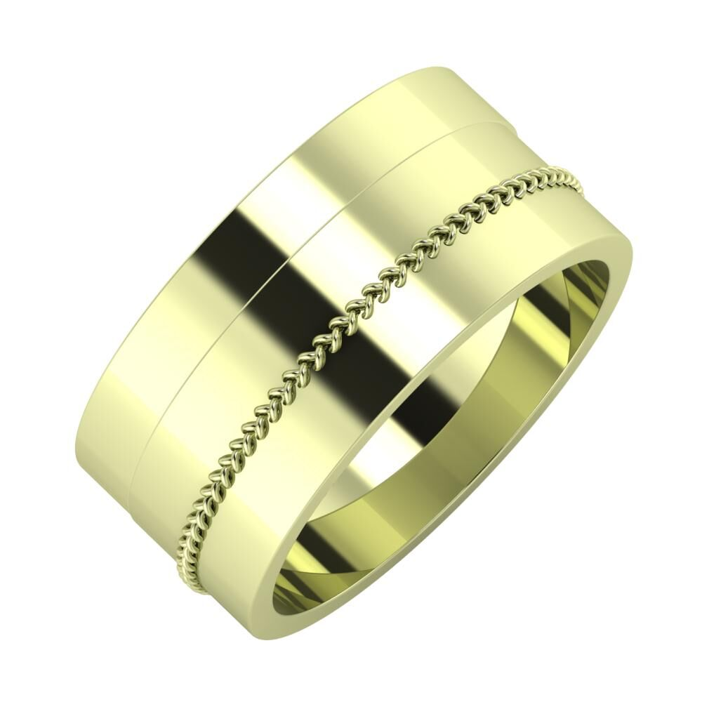 Adela - Áfonya 9mm 14 karátos zöld arany karikagyűrű