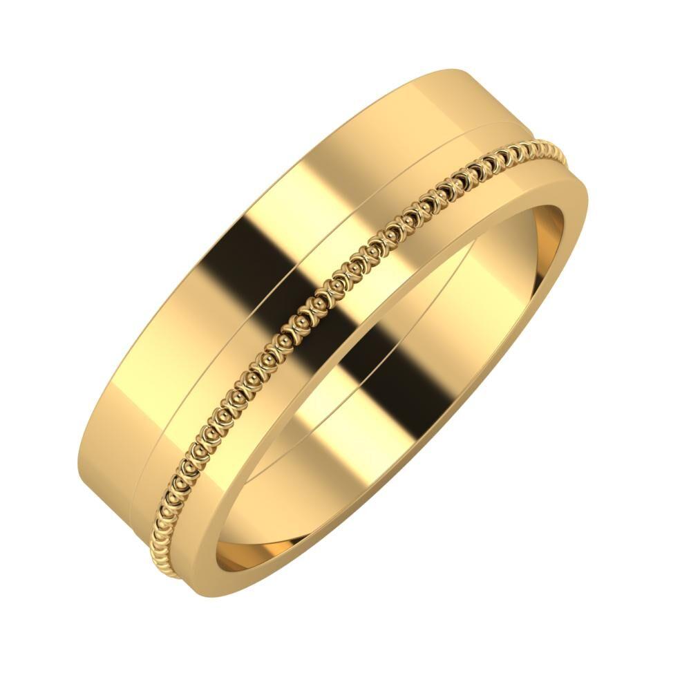Adela - Afrodita 6mm 22 karátos sárga arany karikagyűrű