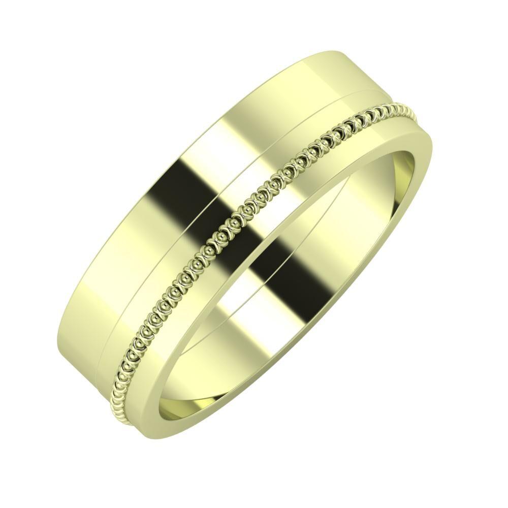 Adela - Afrodita 6mm 14 karátos zöld arany karikagyűrű