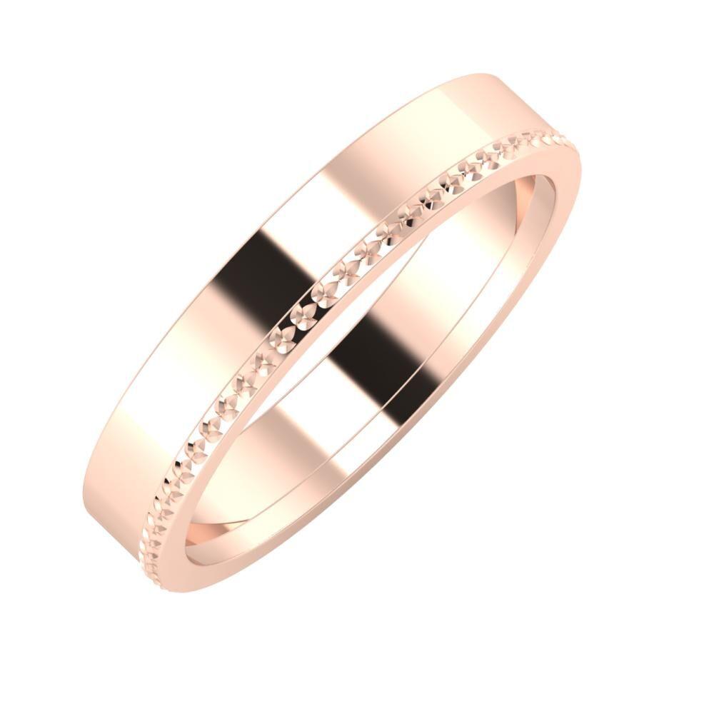 Adela - Ági 4mm 18 karátos rosé arany karikagyűrű