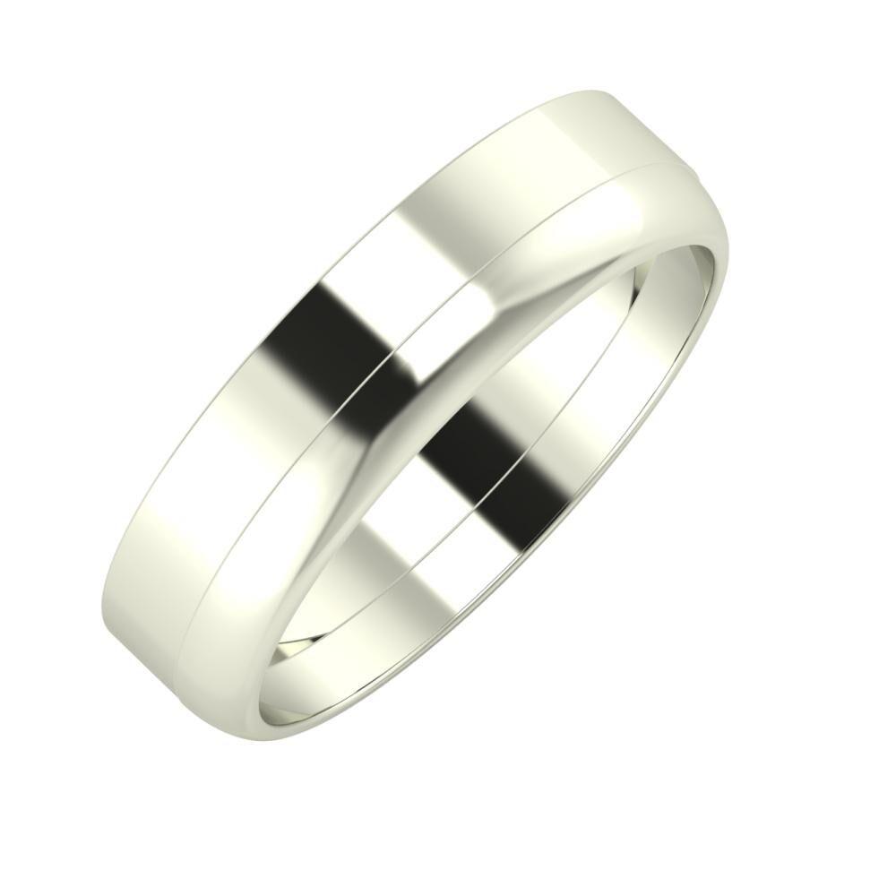 Adela - Ágosta 5mm 14 karátos fehér arany karikagyűrű