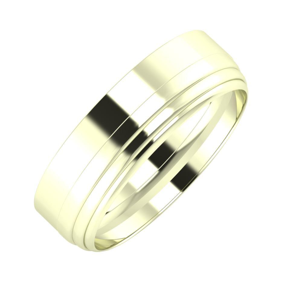 Adela - Aina 6mm 22 karátos fehér arany karikagyűrű