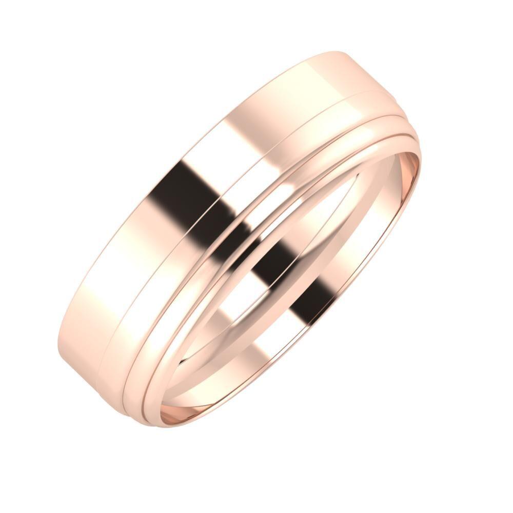 Adela - Aina 6mm 18 karátos rosé arany karikagyűrű