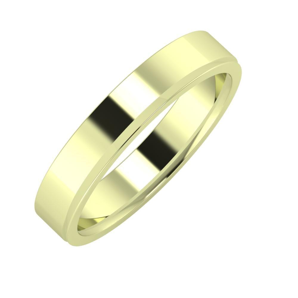 Adela - Aisa 4mm 14 karátos zöld arany karikagyűrű