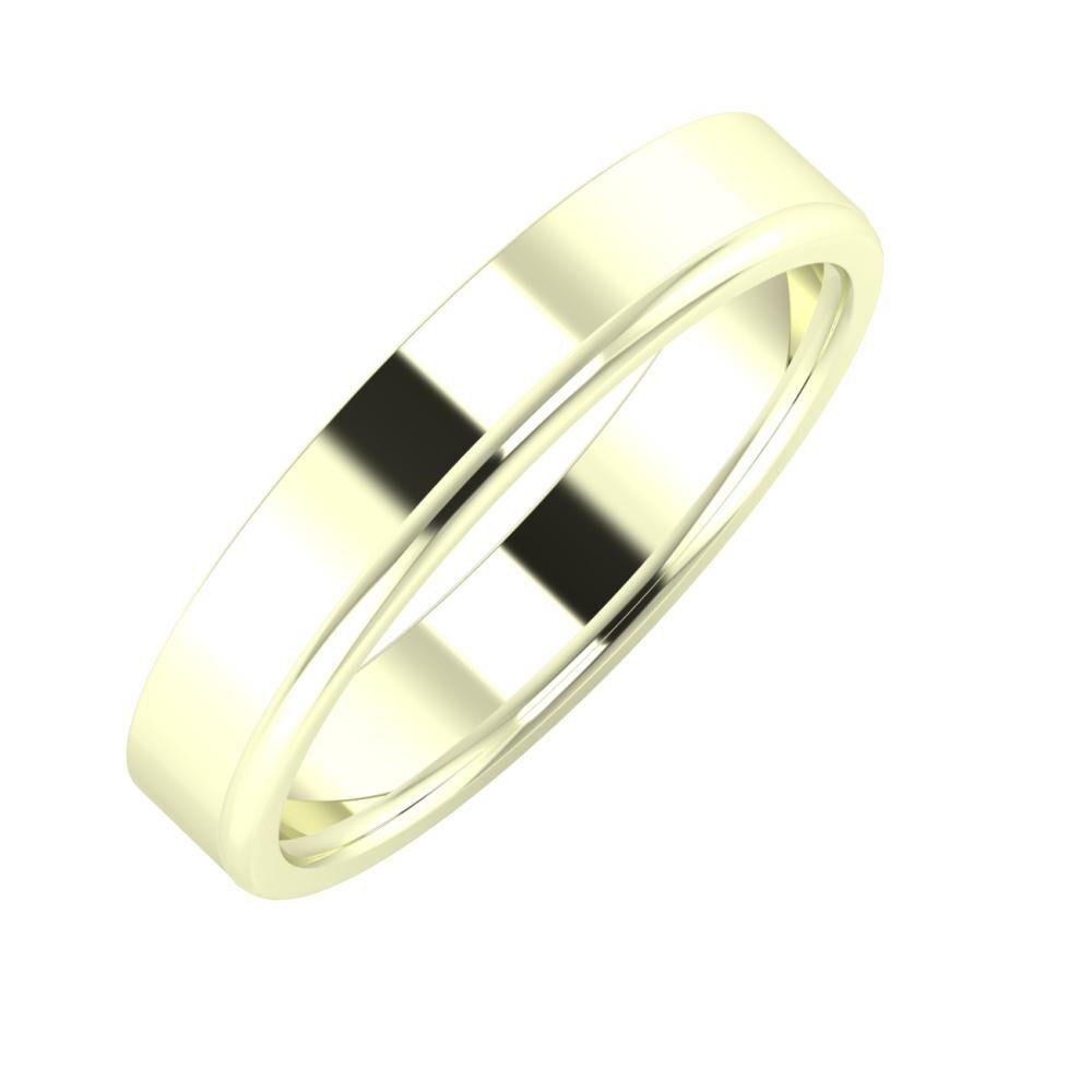 Adela - Alexandra 4mm 22 karátos fehér arany karikagyűrű