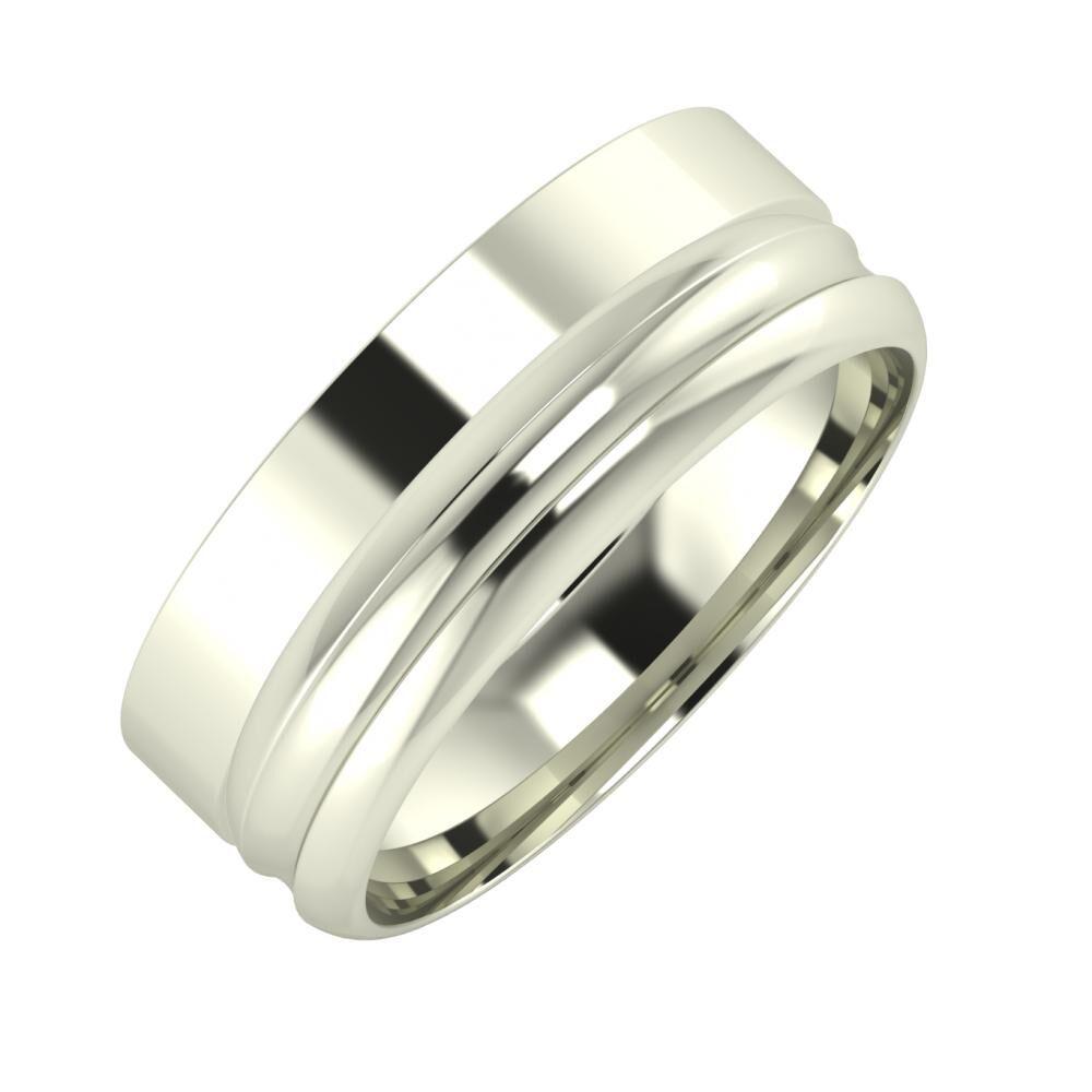 Adela - Alexandrin 7mm 18 karátos fehér arany karikagyűrű