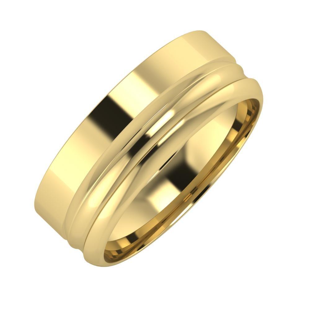 Adela - Alexandrin 7mm 14 karátos sárga arany karikagyűrű