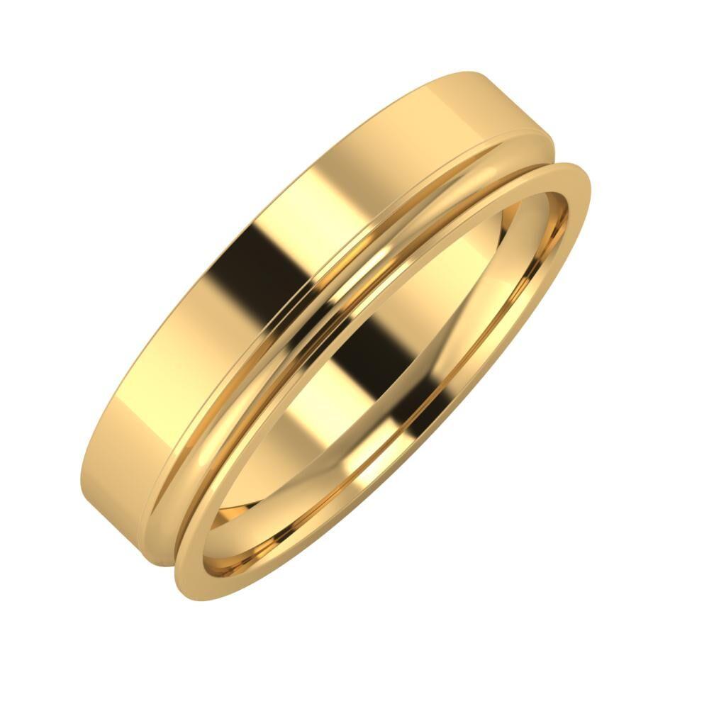 Adela - Alexandrina 5mm 18 karátos sárga arany karikagyűrű