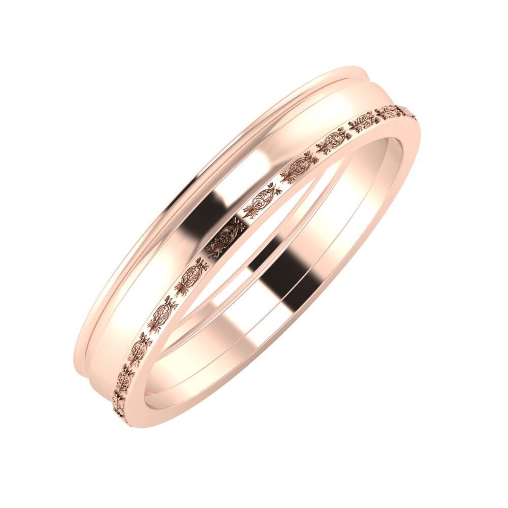 Agrippína - Ágosta - Agnella 4mm 14 karátos rosé arany karikagyűrű