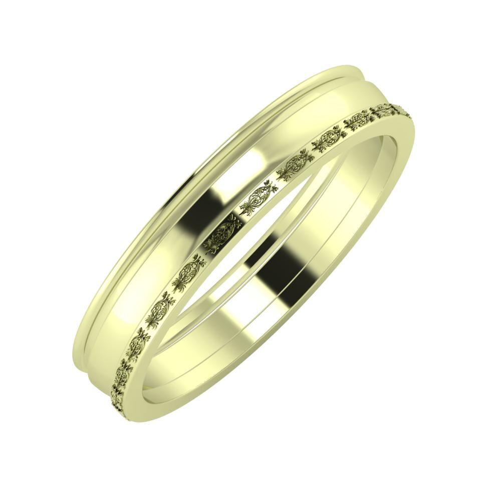 Agrippína - Ágosta - Agnella 4mm 14 karátos zöld arany karikagyűrű