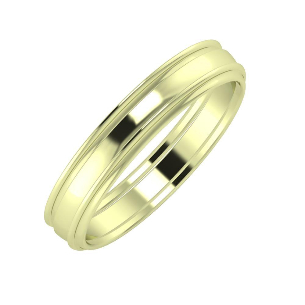 Agrippína - Ágosta - Agrippína 4mm 14 karátos zöld arany karikagyűrű