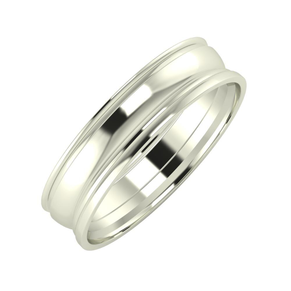 Agrippína - Ágosta - Aida 5mm 18 karátos fehér arany karikagyűrű