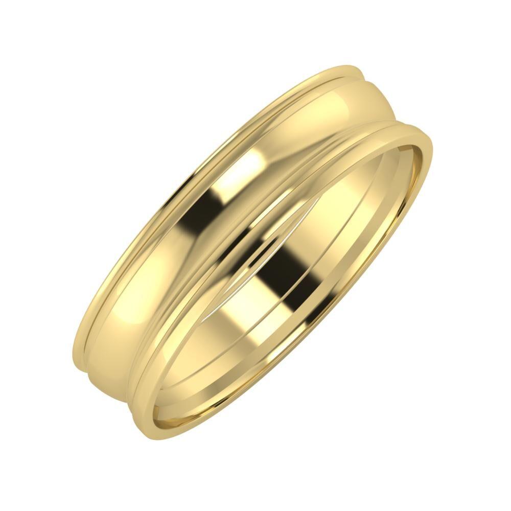 Agrippína - Ágosta - Aida 5mm 14 karátos sárga arany karikagyűrű