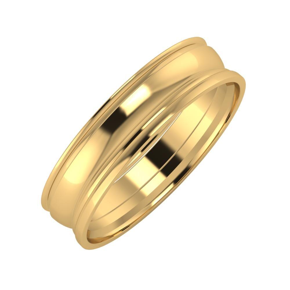 Agrippína - Ágosta - Aida 5mm 22 karátos sárga arany karikagyűrű